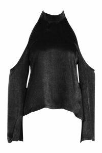 Womens Hammered Satin Cold Shoulder Blouse - black - 10, Black