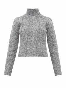 Tibi - Zip Through High Neck Ribbed Sweater - Womens - Grey