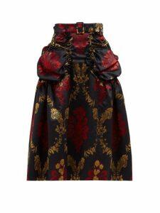 Simone Rocha - Belted Floral Brocade Midi Skirt - Womens - Black Multi