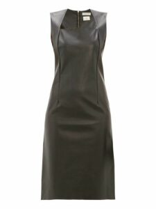 Bottega Veneta - Square Neckline Leather Dress - Womens - Black