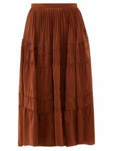 Rochas - Tiered Silk Crepe De Chine Midi Skirt - Womens - Brown