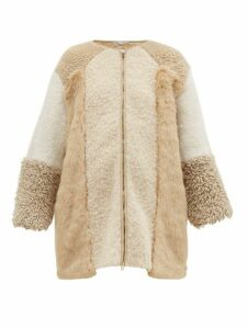 Stella Mccartney - Panelled Faux-fur And Faux-shearling Coat - Womens - Beige Multi