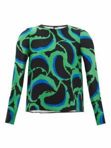 Marni - Abstract-print Crepe Blouse - Womens - Green Multi