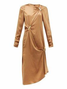 Versace - Draped Safety Pinned Satin Midi Dress - Womens - Brown