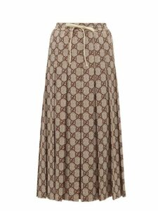 Gucci - Gg Print Pleated Midi Skirt - Womens - Brown Multi