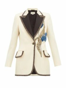 Gucci - Embroidered And Embellished Wool Blazer - Womens - Ivory Multi