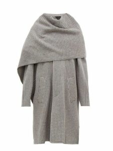 Balenciaga - Draped Scarf Houndstooth Wool Coat - Womens - Grey Multi