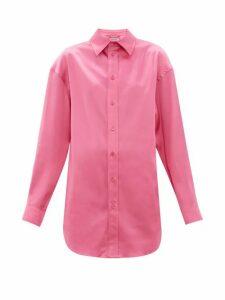 Balenciaga - Longline Satin Shirt - Womens - Pink