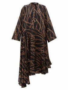 Balenciaga - Chain Print Logo Silk Jacquard Dress - Womens - Black Multi