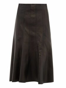 Balenciaga - Fluted Hem Leather Midi Skirt - Womens - Black