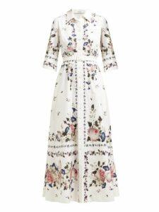 Erdem - Kasia Floral Print Poplin Shirtdress - Womens - White Print