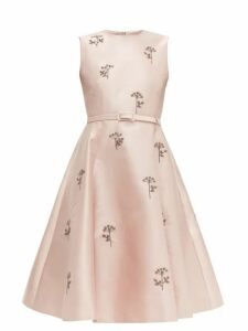 Erdem - Angelica Beaded Mikado Knee Length Dress - Womens - Light Pink
