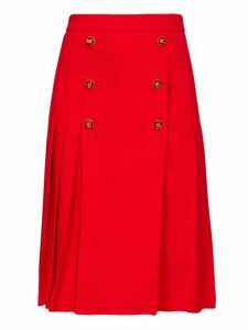 Dolce & Gabbana - Button Embellished Pleated Wool Blend Skirt - Womens - Red