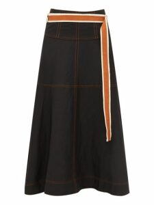 Lee Mathews - Lucien Belted Crepe Midi Skirt - Womens - Black