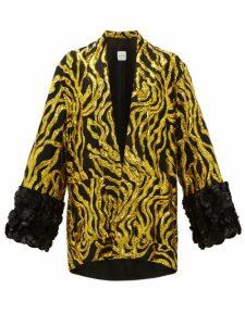 Halpern - Vine Sequinned Appliqué Cuff Jacket - Womens - Gold Multi