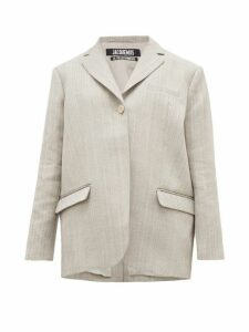Jacquemus - Moyo Single Breasted Twill Blazer - Womens - Grey