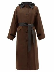 Kassl Editions - Hooded Single Breasted Waxed Cotton Coat - Womens - Brown Multi