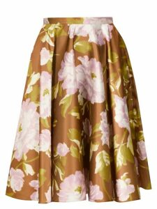 Rochas - Floral Print Satin Skirt - Womens - Green Multi