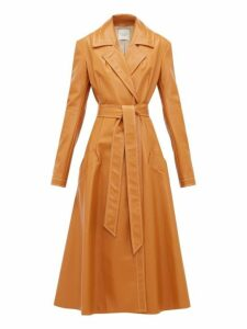 A.w.a.k.e. Mode - Gingerbread Belted Leather Coat - Womens - Orange