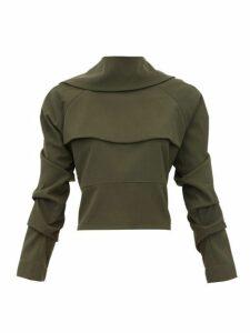A.w.a.k.e. Mode - Tie Back Draped Crepe Top - Womens - Dark Green