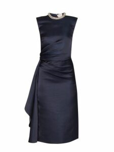 Alexander Mcqueen - Crystal Embellished Ruched Silk Knee Length Dress - Womens - Navy