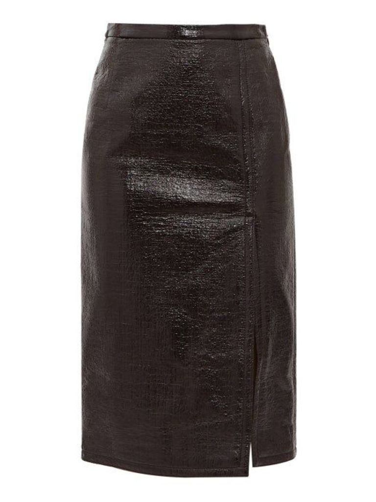 No. 21 - Front Slit Pvc Coated Skirt - Womens - Black