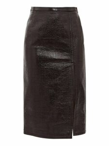 No. 21 - Front Slit Pvc Coated Skirt - Womens - Black