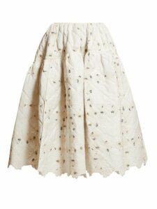 Cecilie Bahnsen - Rosie Quilted Floral Print Cotton Skirt - Womens - Ivory Multi