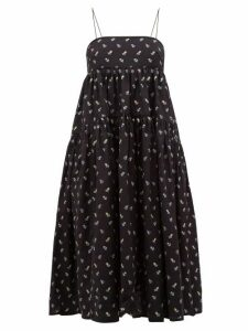 Cecilie Bahnsen - Sofie Floral Embroidered Open Back Cotton Dress - Womens - Black Blue