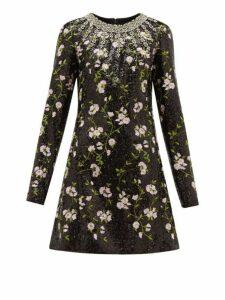 Giambattista Valli - Crystal And Sequin Floral Embroidered Mini Dress - Womens - Black Multi