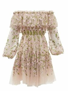 Giambattista Valli - Floral Embroidered Tulle Off The Shoulder Dress - Womens - Pink Multi