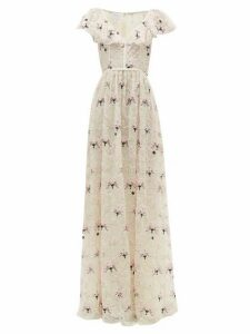 Giambattista Valli - Floral Embroidered Chantilly Lace Tulle Gown - Womens - Ivory Multi
