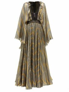 Giambattista Valli - Geometric Print Lace And Silk Blend Gown - Womens - Black Gold