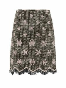 Giambattista Valli - Floral Embroidered Cotton Blend Tweed Skirt - Womens - Black Multi