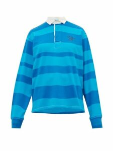 Wales Bonner - Logo Embroidered Striped Cotton Rugby Polo Shirt - Womens - Blue