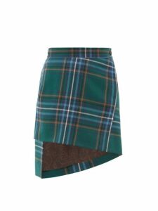 Vivienne Westwood - Asymmetric Tartan Wool Twill Skirt - Womens - Green Multi