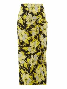 Colville - Floral Print Ruched Crepe Midi Skirt - Womens - Black Yellow