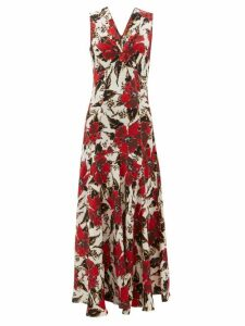 Colville - Floral Print Panelled Crepe Maxi Dress - Womens - Red Print