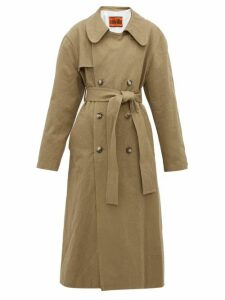 Colville - Oversized Crushed Cotton Gabardine Trench Coat - Womens - Beige