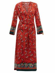 Chufy - Najima Bird Print Crepe Dress - Womens - Red Multi
