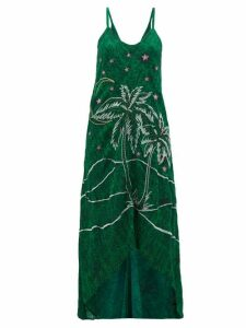 Chufy - Kaf Embroidered Abstract Print Crepe Dress - Womens - Green Print