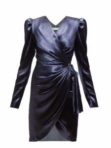 Altuzarra - Annette Wrap Front Satin Mini Dress - Womens - Dark Blue