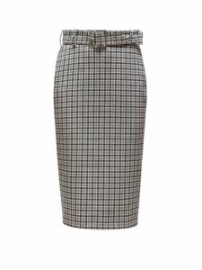 Altuzarra - Rice Belted Checked Pencil Skirt - Womens - Black White