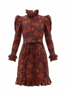 Batsheva - Ruffled Grape And Floral Print Cotton Dress - Womens - Black Red