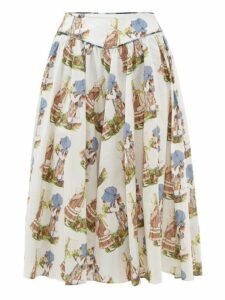 Batsheva - Holly Hobbie Print Cotton Midi Skirt - Womens - White Multi