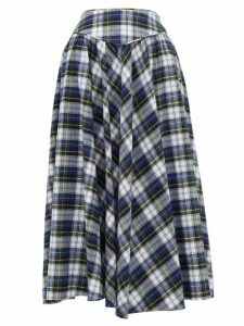 Batsheva - Checked Cotton Skirt - Womens - Blue Multi