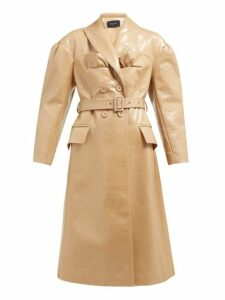 Simone Rocha - Double Breasted Laminated Wool Blend Coat - Womens - Camel