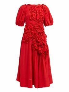 Simone Rocha - Ruched Silk Crepe De Chine Midi Dress - Womens - Red