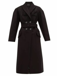 Simone Rocha - Ruffled Double Breasted Wool Blend Coat - Womens - Black