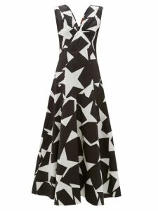 Colville - Star Print Cotton Maxi Dress - Womens - Black White